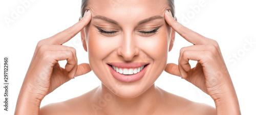 Anti-age concept. Happy smiling woman touching her face Poster Mural XXL