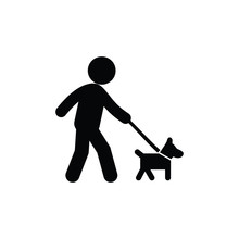 Walking With Dog Icon Vector. ...
