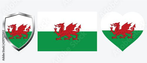 Obraz na płótnie Set of Wales flag on isolated background vector illustration