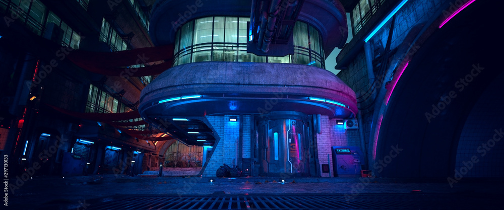 Fototapety, obrazy: Neon night in a futuristic city. Photorealistic 3D illustration. Wallpaper in a cyberpunk style. unk. Empty street with neon lights. Beautiful night cityscape. Grunge urban landscape.