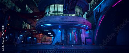 Neon night in a futuristic city. Photorealistic 3D illustration. Wallpaper in a cyberpunk style. unk. Empty street with neon lights. Beautiful night cityscape. Grunge urban landscape. - 297130133