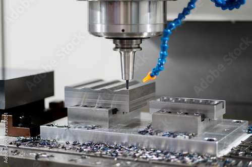 High precision CNC machining center working, operator machining automotive sampl Tablou Canvas