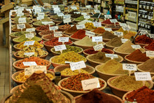 Different Spices On The Local Market, Tel-Aviv, Israel
