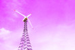 canvas print picture - Windmill on a purple pastel sky background