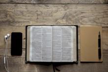 Overhead Shot Of Opened Bible ...