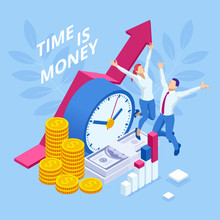 Time Is Money Isometric Concep...