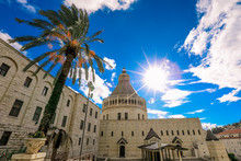 The Chirst Church Under The Cloudy Blue Sky With The Palms, Nazareth, Israel