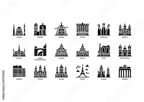 European cities landmarks icons set Fototapeta
