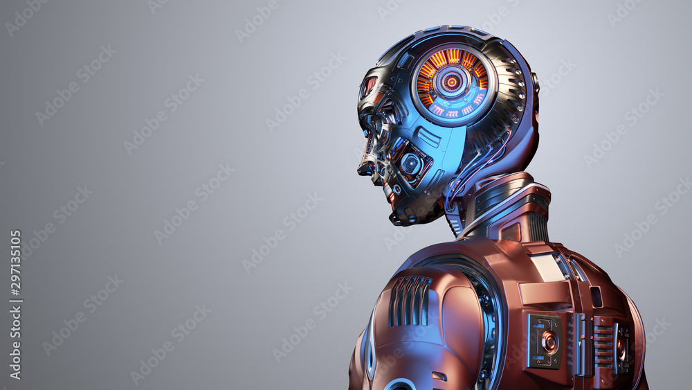 Fototapeta Very detailed futuristic robot man or red humanoid cyborg with metallic skull head. Side back view isolated on color background with free copy space for text. 3d render