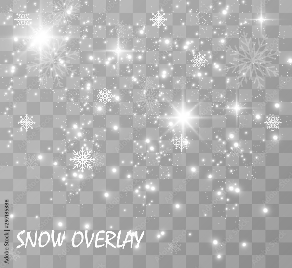 Fototapety, obrazy:  Snowfall. A lot of snow on a transparent background. Christmas winter background. Snowflakes falling from the sky.