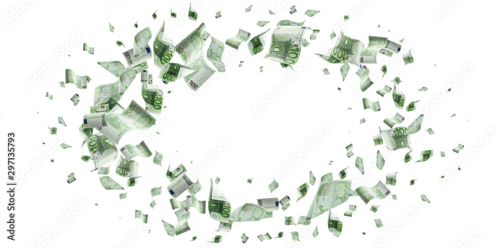 Fototapety, obrazy: Counting euro banknote falling isolated. Money cash texture on white background.