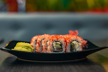Food Photography Sushi Rolls Japan Traditional Cuisine In Restaurant Twilight Interior Environment Unfocused Background Empty Copy Space For Your Text