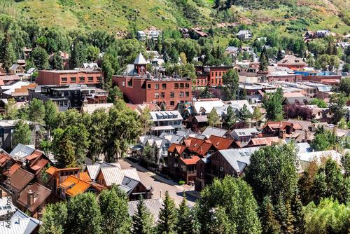 Fotografia, Obraz  Telluride, Colorado small town with aerial high angle bird's eye view of city ci