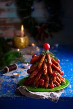 Sausage Christmas Tree In  A Christmas Decor.
