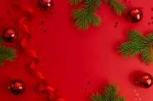 Top View Christmas Red Backgro...