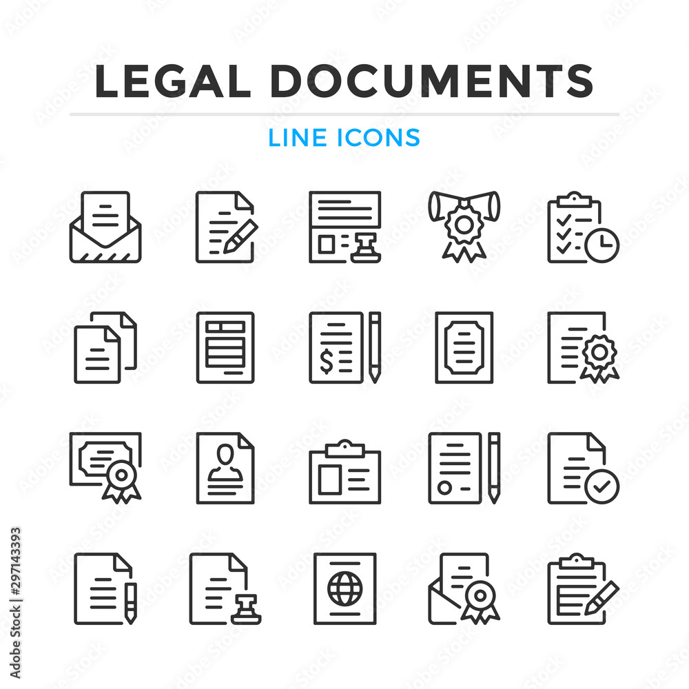 Fototapety, obrazy: Legal documents line icons set. Modern outline elements, graphic design concepts, simple symbols collection. Vector line icons