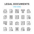 Legal documents line icons set. Modern outline elements, graphic design concepts, simple symbols collection. Vector line icons