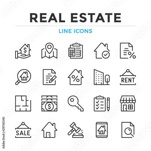 Real estate line icons set. Modern outline elements, graphic design concepts, simple symbols collection. Vector line icons