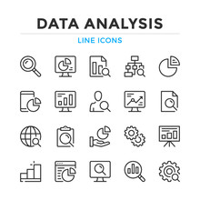 Data Analysis Line Icons Set. ...