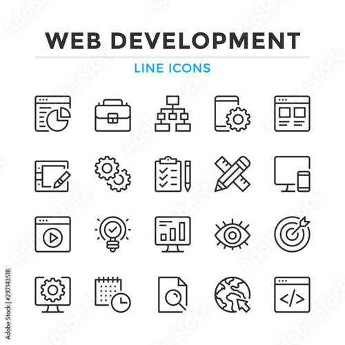 Fotomural Web development line icons set