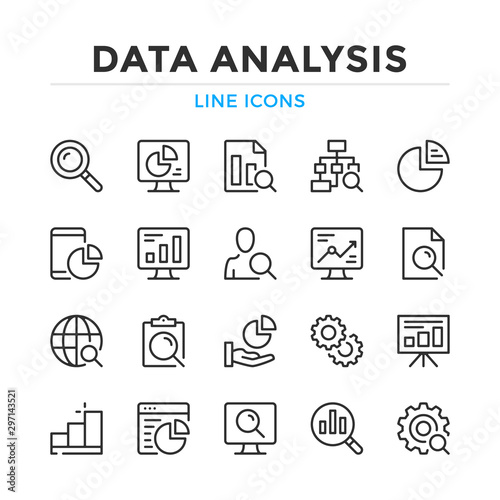 Fotomural Data analysis line icons set