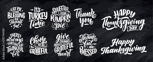 Set with lettering quotes for Thanksgiving Day Wallpaper Mural