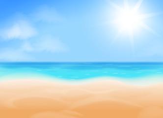 Blue sky, bright sun, ocean...