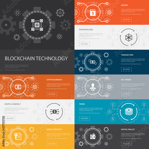 blockchain technology Infographic 10 line icons banners Canvas Print