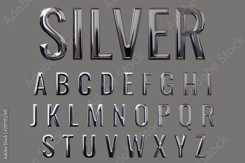 Fotografía Letter set with metal texture (chrome, silver, stainless steel) and 3D rendering
