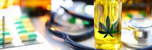 Carta da parati  Marijuana stethoscope oil pills are on table