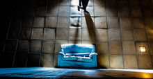 Old Abandoned Sofa With Light