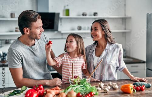 Fotografie, Obraz  Family in kitchen