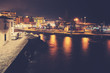 Puerto de la Cruz port at a misty night, color toned picture, Tenerife, Spain.