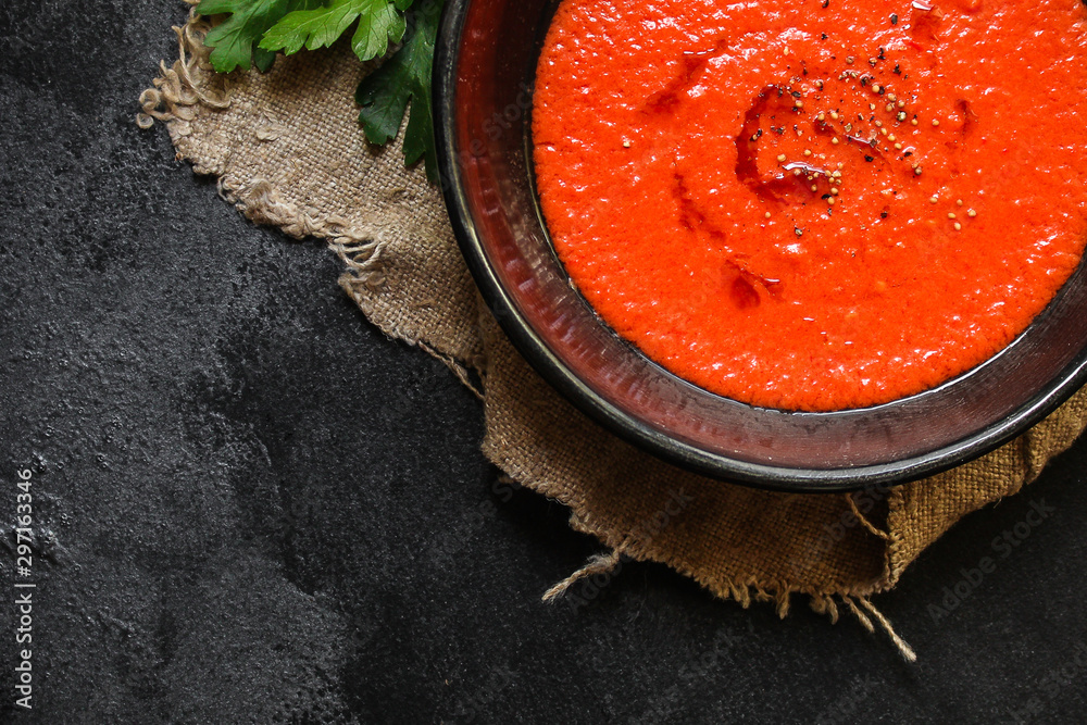 Fototapety, obrazy: gazpacho, tomato or carrot soup with vegetables (delicious feather dish, healthy cooking) menu concept. food background. copy space. Top view