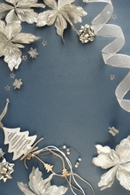 Christmas Background. Xmas Or New Year White Silver Color Decorations On Blue Gray  Background With Empty Copy Space For Text.  Holiday And Celebration Concept For Postcard Or Invitation. Top View