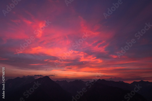 Canvas Prints Crimson burning red sky in the alps