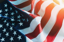 American Flag Or United States Of America National Flag Background In Sunlight, Close Up