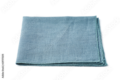 Fotografie, Obraz Single turquoise textile napkin on white background