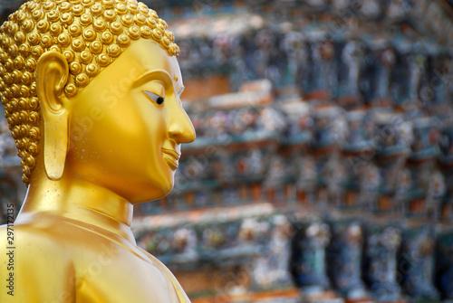 Golden Buddha head of statue in temple in Bangkok Wallpaper Mural