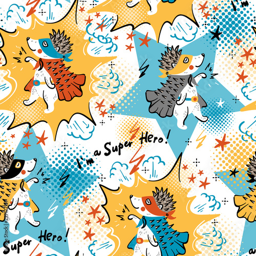 super-hero-colorful-background-for-kids-vector-seamless-pattern-with-doodle-funny-cute-hedgehog