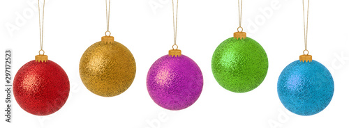 Multi-colored Christmas baubles Wallpaper Mural
