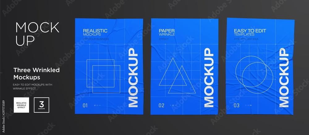 Fototapeta Blue Wrinkled poster template set. Glued paper. Vector Realistic wet wrinkled posters mockup