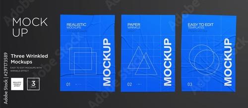 Fotografie, Obraz Blue Wrinkled poster template set