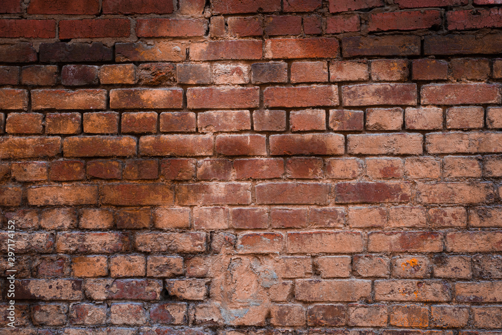 Fototapety, obrazy: Texture of old brickwork with peeling color paint