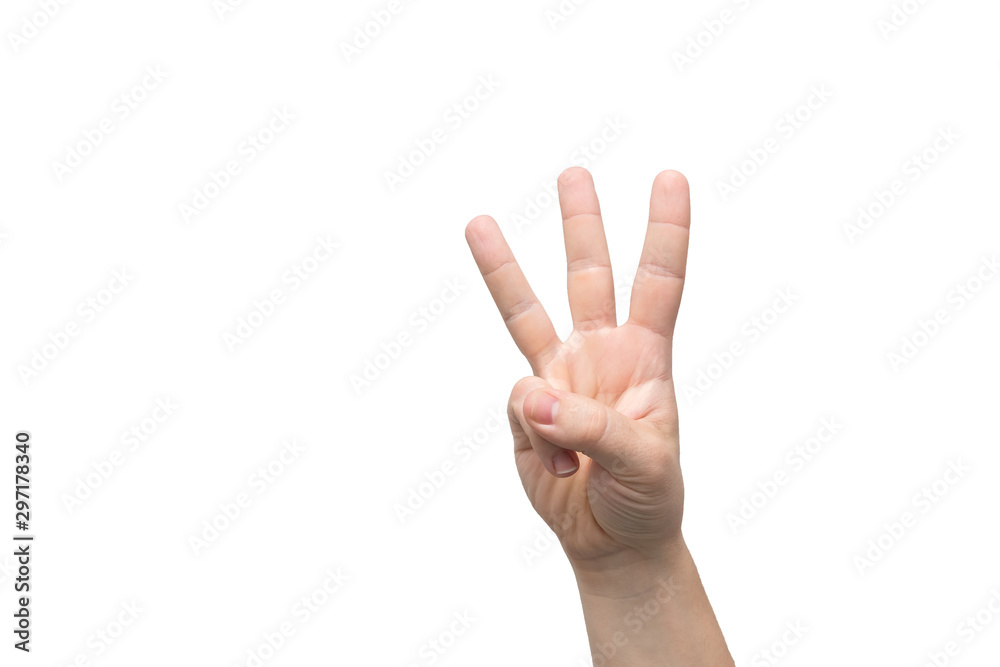 Fototapety, obrazy: Male hand is showing three fingers isolated on white background, place for text