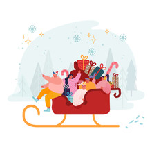 Happy Male And Female Characters Riding Santa Claus Sled Full Of Gifts And Presents. Xmas Celebration And Winter Holidays Concept. Santa Helpers Festive Greetings. Cartoon Flat Vector Illustration