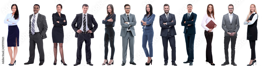Fototapety, obrazy: group of successful business people isolated on white