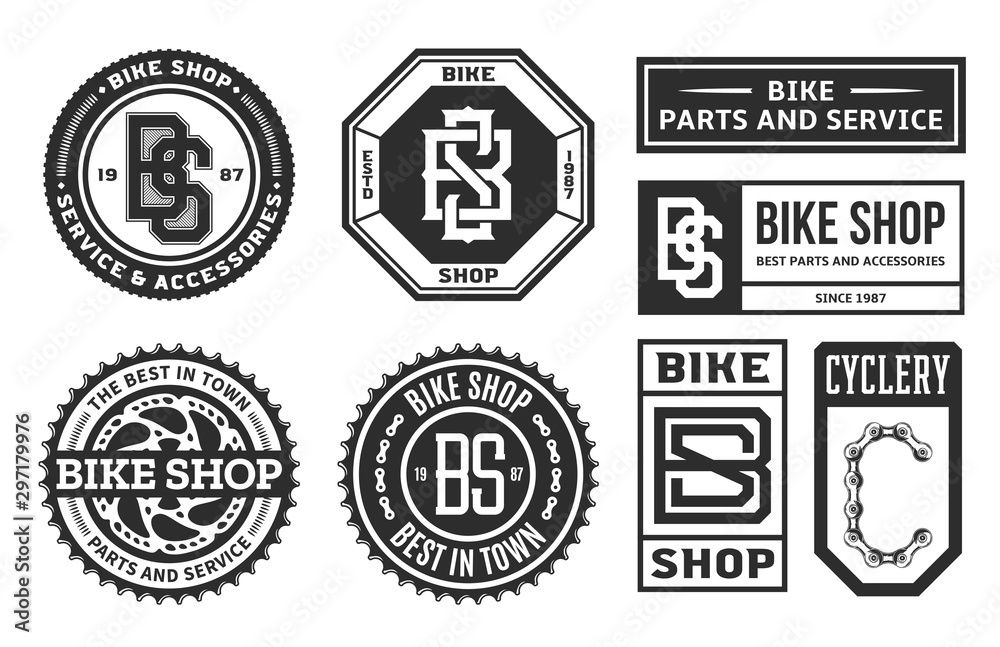 Fototapety, obrazy: Set of vector bike shop, bicycle part and service logo, badges and icons isolated on a white background