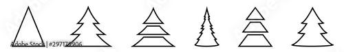Christmas Tree Black Shape Icon | Fir Tree Illustration | x-mas Symbol | Logo | Fototapeta