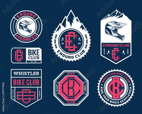 Cuadros en Lienzo  Vector enduro mountain biking adventures, parks, clubs logo, badges and icons